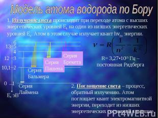 Модель атома водорода по Бору 1. Излучение света происходит при переходе атома с