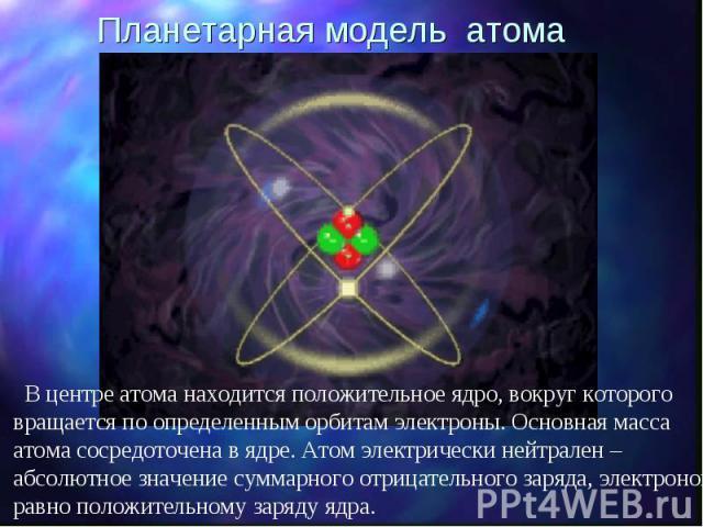 Планетарная модель атома В центре атома находится положительное ядро, вокруг которого вращается по определенным орбитам электроны. Основная масса атома сосредоточена в ядре. Атом электрически нейтрален – абсолютное значение суммарного отрицательного…