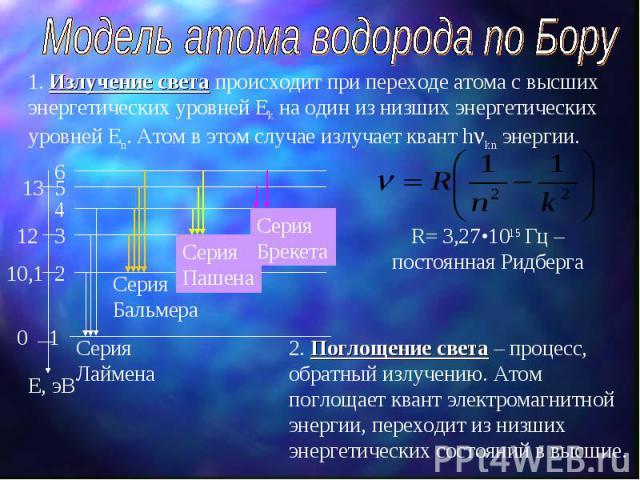 Модель атома водорода по Бору 1. Излучение света происходит при переходе атома с высших энергетических уровней Еk на один из низших энергетических уровней Еn. Атом в этом случае излучает квант h kn энергии. 2. Поглощение света – процесс, обратный из…