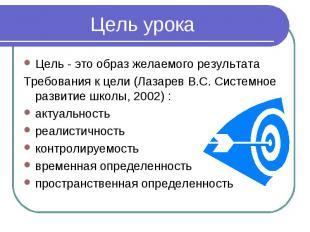 Цель урока Цель - это образ желаемого результата Требования к цели (Лазарев В.С.