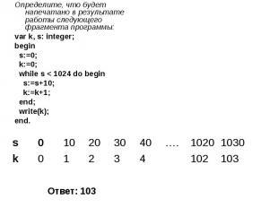 Определите, что будет напечатано в результате работы следующего фрагмента програ