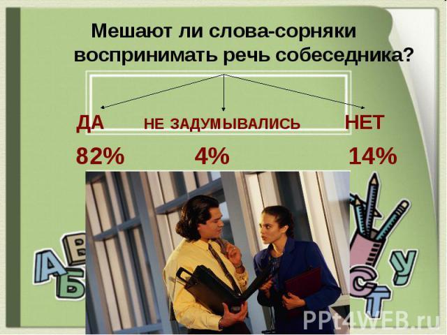 Мешают ли слова-сорняки воспринимать речь собеседника? ДА НЕ ЗАДУМЫВАЛИСЬ НЕТ 82% 4% 14%