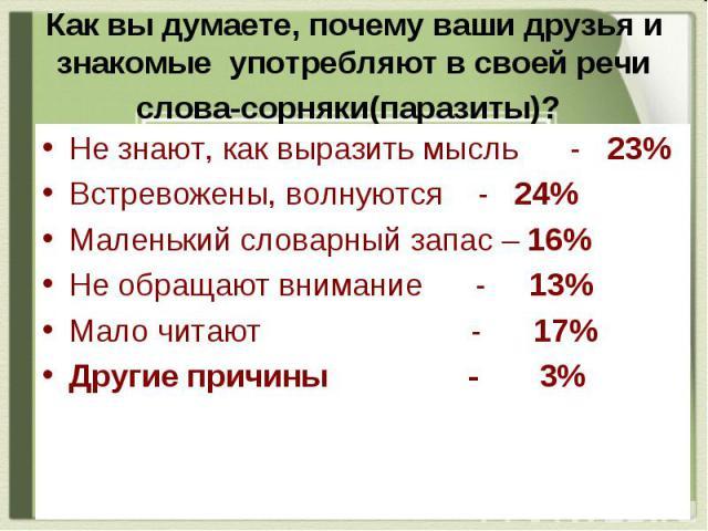 Как вы думаете, почему ваши друзья и знакомые употребляют в своей речи слова-сорняки(паразиты)? Не знают, как выразить мысль - 23% Встревожены, волнуются - 24% Маленький словарный запас – 16% Не обращают внимание - 13% Мало читают - 17% Другие причи…