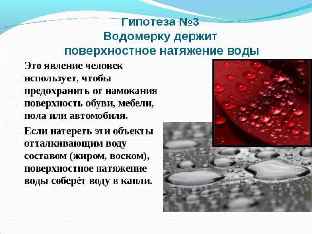 Гипотеза №3 Водомерку держит поверхностное натяжение водыЭто явление человек использует, чтобы предохранить от намокания поверхность обуви, мебели, пола или автомобиля. Если натереть эти объекты отталкивающим воду составом (жиром, воском), поверхнос…
