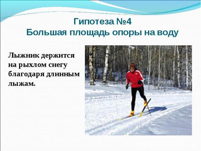 Гипотеза №4 Большая площадь опоры на водуЛыжник держится на рыхлом снегу благодаря длинным лыжам.