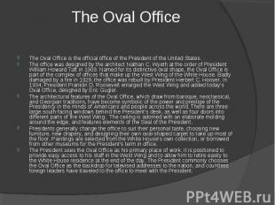 The Oval Office The Oval Office is the official office of the President of the U