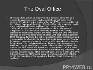 The Oval Office The Oval Office serves as the president's personal office and