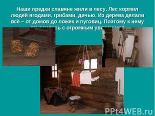 Наши предки славяне жили в лесу. Лес кормил людей ягодами, грибами, дичью. Из де