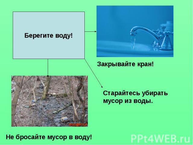 Берегите воду! Старайтесь убирать мусор из воды. Не бросайте мусор в воду! Закрывайте кран!