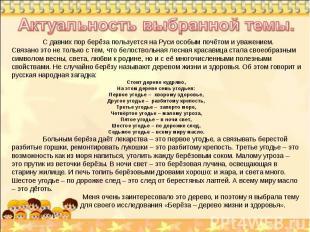 Актуальность выбранной темы. С давних пор берёза пользуется на Руси особым почёт
