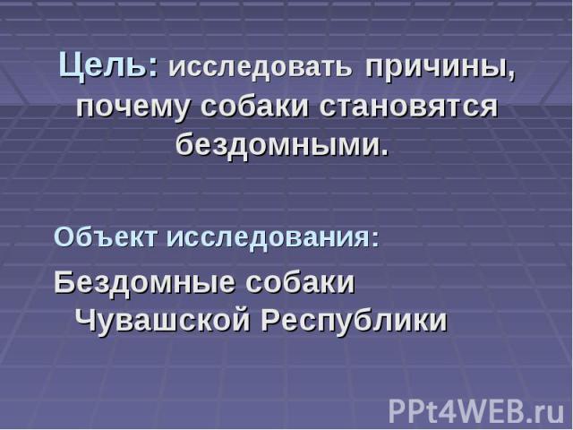 Цель: исследовать причины, почему собаки становятся бездомными. Объект исследования: Бездомные собаки Чувашской Республики