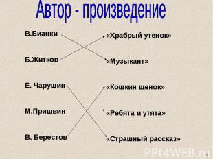 Автор - произведение В.Бианки Б.Житков Е. Чарушин М.Пришвин В. Берестов «Храбрый