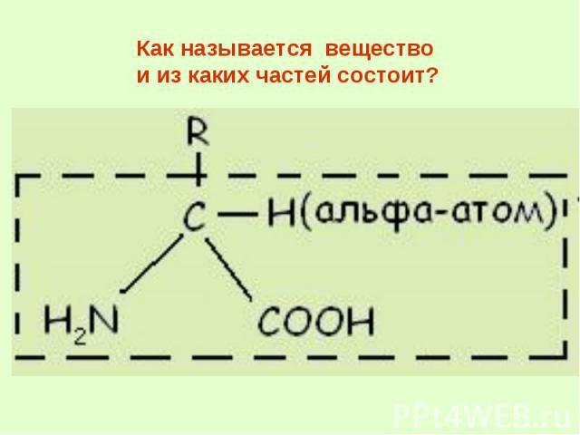 Как называется вещество и из каких частей состоит?