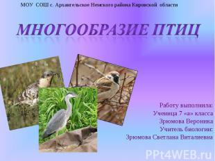 МОУ СОШ с. Архангельское Немского района Кировской области Многообразие птиц Раб