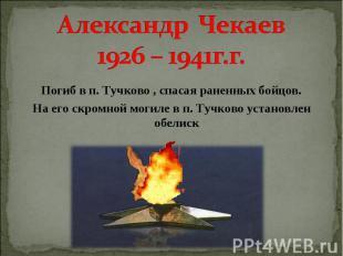 Александр Чекаев 1926 – 1941г.г. Погиб в п. Тучково , спасая раненных бойцов. На