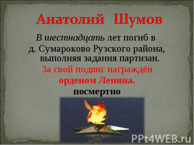Анатолий Шумов В шестнадцать лет погиб в д. Сумароково Рузского района, выполняя задания партизан. За свой подвиг награждён орденом Ленина. посмертно