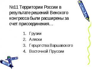 №11 Территории России в результате решений Венского конгресса были расширены за