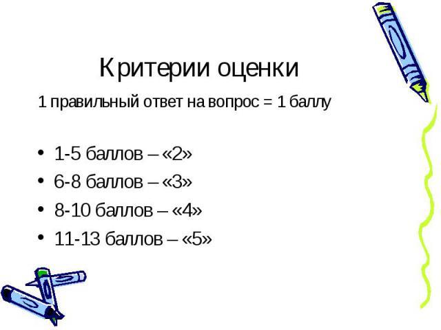 Критерии оценки 1 правильный ответ на вопрос = 1 баллу 1-5 баллов – «2» 6-8 баллов – «3» 8-10 баллов – «4» 11-13 баллов – «5»