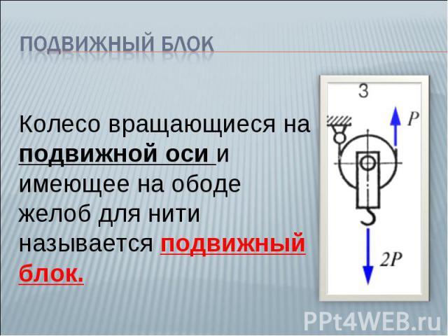 Подвижный блок Колесо вращающиеся на подвижной оси и имеющее на ободе желоб для нити называется подвижный блок.