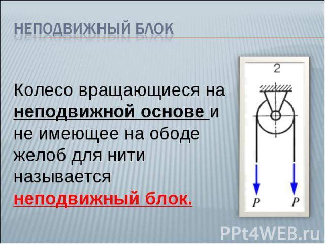 Неподвижный блок Колесо вращающиеся на неподвижной основе и не имеющее на ободе желоб для нити называется неподвижный блок.