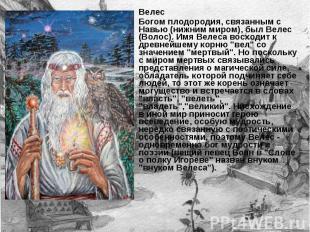 Велес Богом плодородия, связанным с Навью (нижним миром), был Велес (Волос). Имя