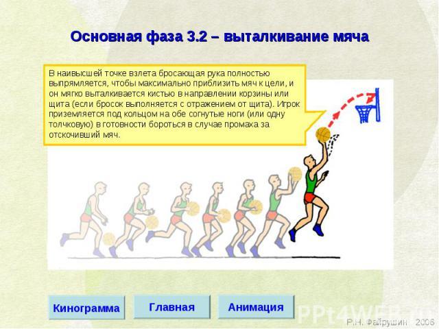 Основная фаза 3.2 – выталкивание мяча В наивысшей точке взлета бросающая рука полностью выпрямляется, чтобы максимально приблизить мяч к цели, и он мягко выталкивается кистью в направлении корзины или щита (если бросок выполняется с отражением от щи…