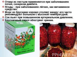 Отвар из листьев применяется при заболеваниях почек, сахарном диабете. Ягоды - п