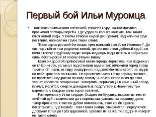 Первый бой Ильи Муромца  Как хватил Илья коня плёточкой, взвился Бурушка-Космат
