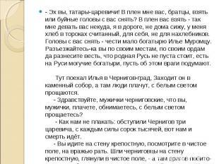 - Эх вы, татары-царевичи! В плен мне вас, братцы, взять или буйные головы с вас