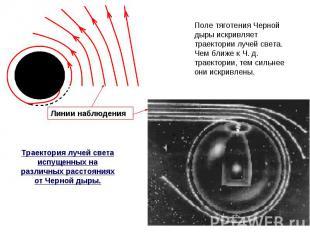 Поле тяготения Черной дыры искривляет траектории лучей света. Чем ближе к Ч. д.