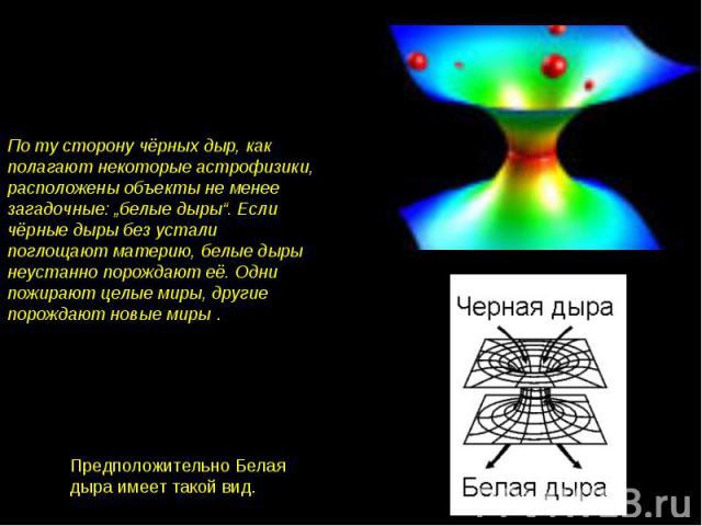 """По ту сторону чёрных дыр, как полагают некоторые астрофизики, расположены объекты не менее загадочные: """"белые дыры"""". Если чёрные дыры без устали поглощают материю, белые дыры неустанно порождают её. Одни пожирают целые миры, другие порождают новые м…"""
