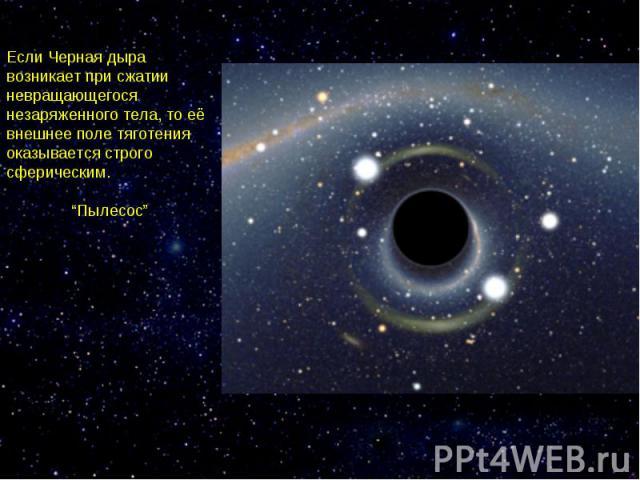 """Если Черная дыра возникает при сжатии невращающегося незаряженного тела, то её внешнее поле тяготения оказывается строго сферическим. """"Пылесос"""""""