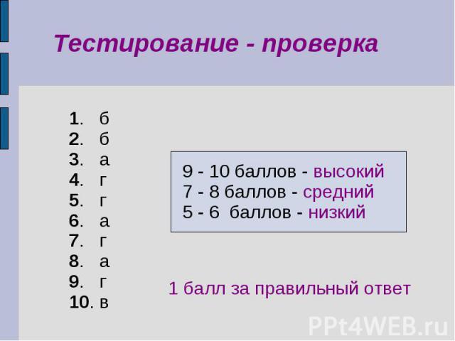 Терминология 1. б 2. б 3. а 4. г 5. г 6. а 7. г 8. а 9. г 10. в 9 - 10 баллов - высокий 7 - 8 баллов - средний 5 - 6 баллов - низкий