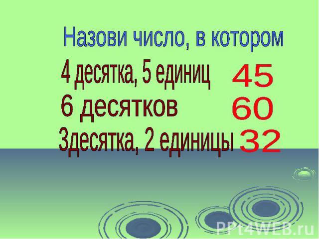 Назови число, в котором 4 десятка, 5 единиц 6 десятков 3десятка, 2 единицы