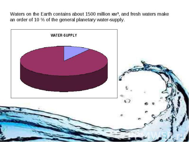 Waters on the Earth contains about 1500 million км³, and fresh waters make an order of 10 % of the general planetary water-supply.
