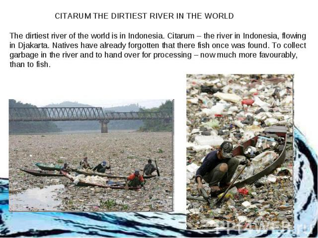 CITARUM THE DIRTIEST RIVER IN THE WORLD The dirtiest river of the world is in Indonesia. Citarum – the river in Indonesia, flowing in Djakarta. Natives have already forgotten that there fish once was found. To collect garbage in the river and to han…