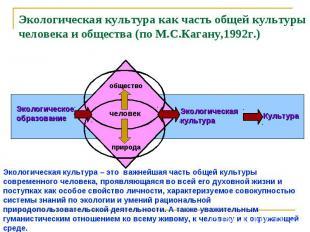 Экологическая культура как часть общей культуры человека и общества (по М.С.Кага
