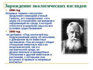 Зарождение экологических взглядов 1866 год Впервые термин «экология» предложил н