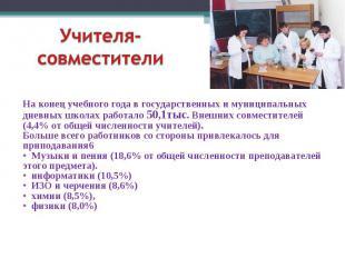 Учителя- совместители На конец учебного года в государственных и муниципальных д