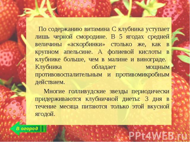 По содержанию витамина С клубника уступает лишь черной смородине. В 5 ягодах средней величины «аскорбинки» столько же, как в крупном апельсине. А фолиевой кислоты в клубнике больше, чем в малине и винограде. Клубника обладает мощным противовоспалите…