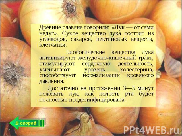 Древние славяне говорили: «Лук — от семи недуг». Сухое вещество лука состоит из углеводов, сахаров, пектиновых веществ, клетчатки. Биологические вещества лука активизируют желудочно-кишечный тракт, стимулируют сердечную деятельность, уменьшают урове…