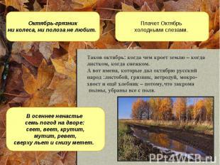 Октябрь-грязник ни колеса, ни полоза не любит. Плачет Октябрь холодными слезами.