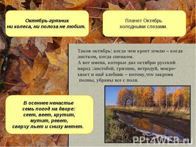 Октябрь-грязник ни колеса, ни полоза не любит. Плачет Октябрь холодными слезами. В осеннее ненастье семь погод на дворе: сеет, веет, крутит, мутит, ревет, сверху льет и снизу метет.