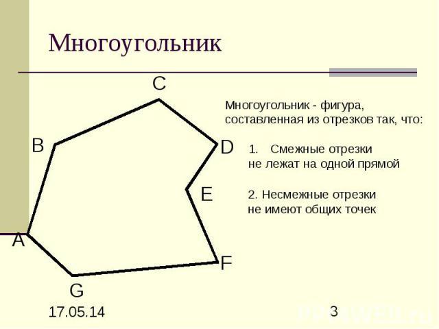 Многоугольник Многоугольник - фигура, составленная из отрезков так, что: Смежные отрезки не лежат на одной прямой 2. Несмежные отрезки не имеют общих точек