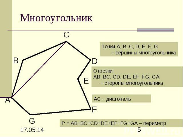 Многоугольник Точки А, В, С, D, Е, F, G – вершины многоугольника Отрезки АВ, ВС, СD, DE, EF, FG, GA – стороны многоугольника АС – диагональ P = АВ+ВС+СD+DE+EF+FG+GA – периметр
