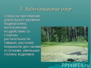 3. Заболачивание озер Озера на протяжении длительного времени подвергались интен