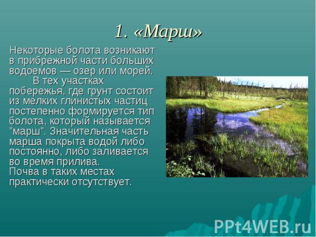 1. «Марш» Некоторые болота возникают в прибрежной части больших водоемов — озер или морей. В тех участках побережья, где грунт состоит из мелких глинистых частиц постепенно формируется тип болота, который называется