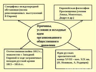Причины, условия и исходные идеи организованного общественного движения Специфик