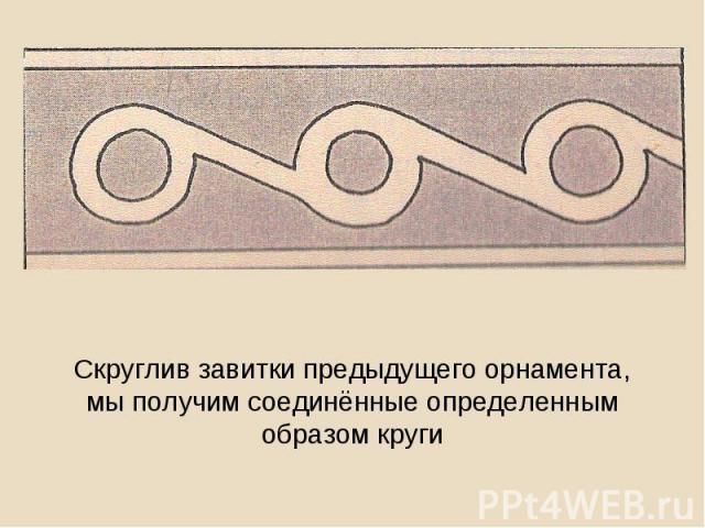 Скруглив завитки предыдущего орнамента, мы получим соединённые определенным образом круги