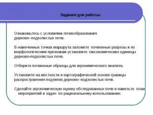 Задания для работы: Ознакомьтесь с условиями почвообразования дерново–подзолисты
